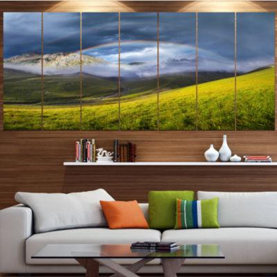 Designart Rainbow In Mountain Valley Landscape Canvas Art Print - 6 Panels