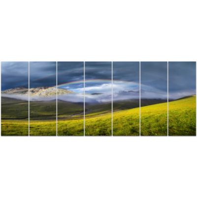 Rainbow In Mountain Valley Landscape Canvas Art Print - 7 Panels
