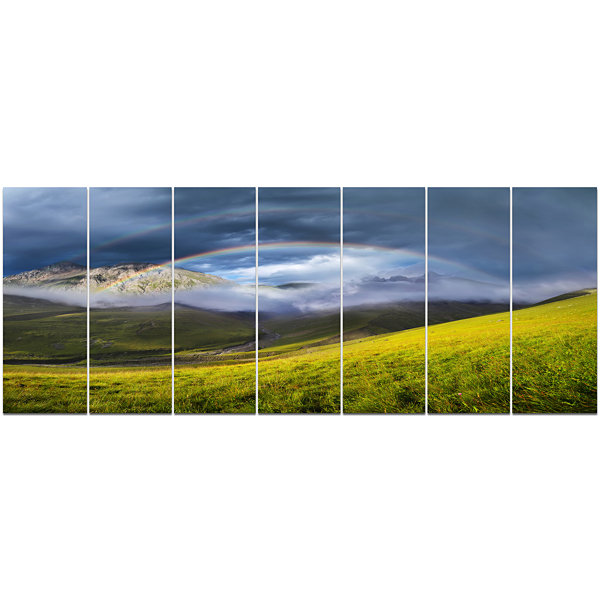 Design Art Rainbow In Mountain Valley Landscape Canvas Art Print - 7 Panels