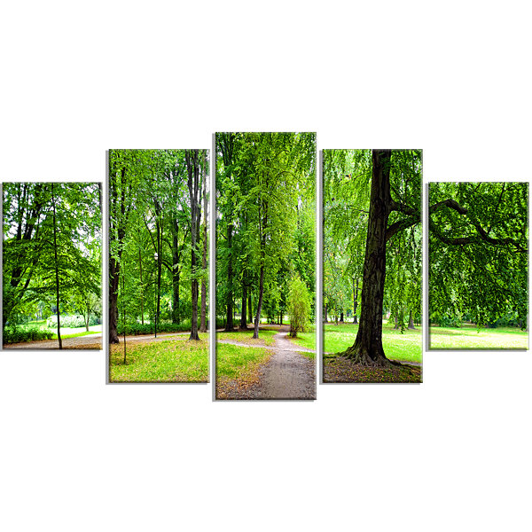 Design Art Park In Autumn Panorama Landscape LargeCanvas Art Print - 5 Panels