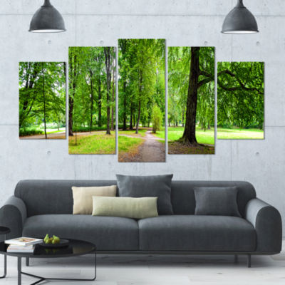 Park In Autumn Panorama Landscape Large Canvas ArtPrint - 5 Panels