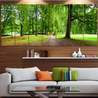 Designart Park In Autumn Panorama Landscape CanvasArt Print- 5 Panels