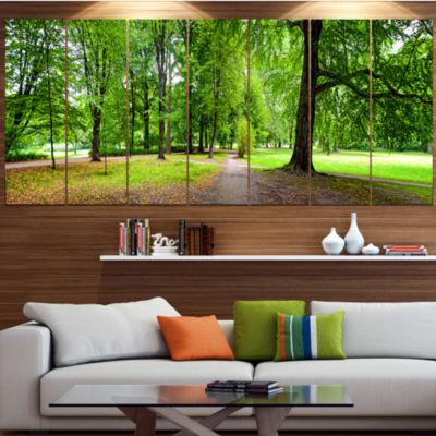 Designart Park In Autumn Panorama Landscape CanvasArt Print- 6 Panels