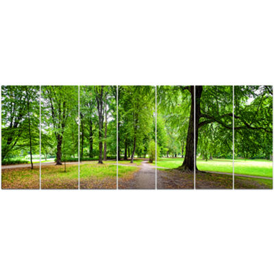 Designart Park In Autumn Panorama Landscape CanvasArt Print- 7 Panels