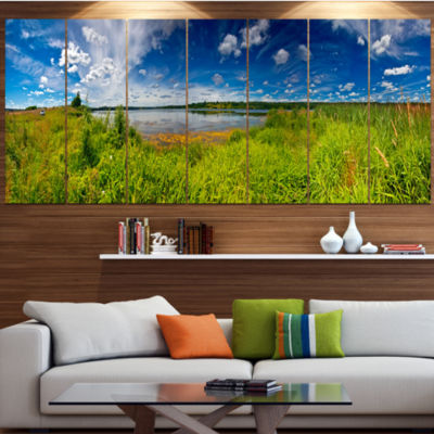 Design Art Ideal Summer Meadow Panorama LandscapeCanvas Art Print - 6 Panels