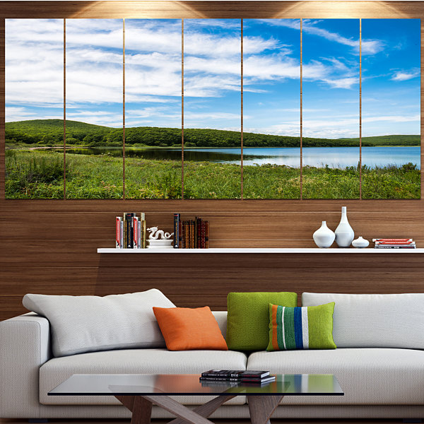Design Art Scenic View Of Pacific Ocean Beach Landscape LargeCanvas Art Print - 5 Panels