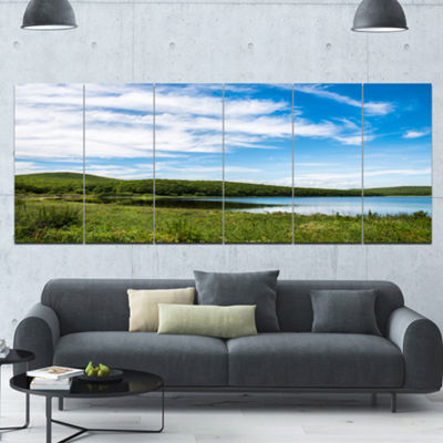 Designart Scenic View Of Pacific Ocean Beach Landscape Canvas Art Print - 6 Panels