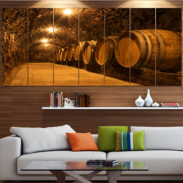 Designart Oak Barrels In The Tunnel Landscape Large Canvas Art Print - 5 Panels