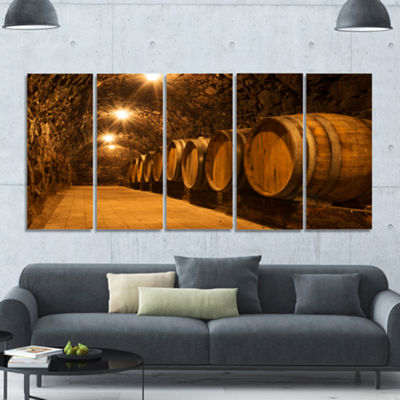 Designart Oak Barrels In The Tunnel Landscape Canvas Art Print - 5 Panels