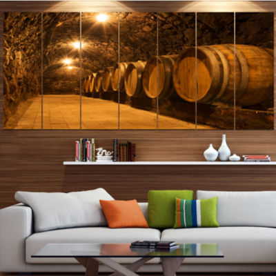 Designart Oak Barrels In The Tunnel Landscape Canvas Art Print - 7 Panels