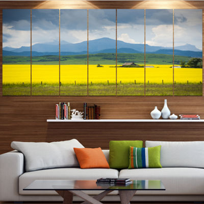 Designart Farm House In Field Of Canola LandscapeCanvas Art Print - 4 Panels
