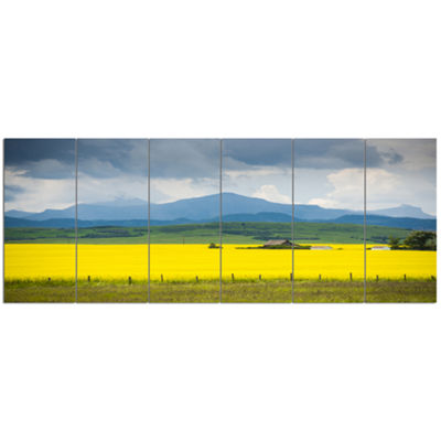 Designart Farm House In Field Of Canola LandscapeCanvas Art Print - 6 Panels