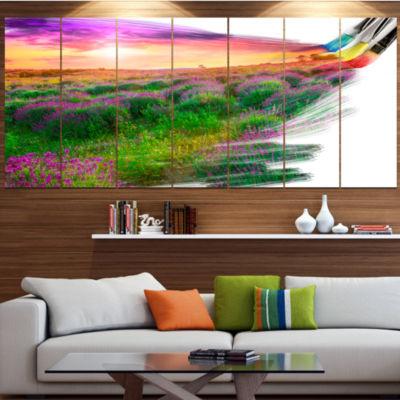 Designart Brushes Painting The Nature Landscape Canvas Art Print - 7 Panels
