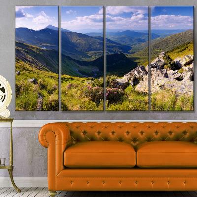 Designart Rocky Summer Hills Under Blue Sky Landscape Canvas Art Print - 4 Panels