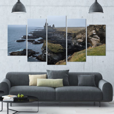 Rocky And Scenic Iceland Beach Landscape Large Canvas Art Print - 5 Panels