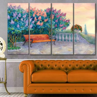 Designart Bench Under Flowering Lilac Landscape Canvas Art Print - 4 Panels