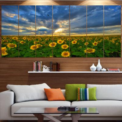 Designart Beauty Sunset Over Sunflowers LandscapeCanvas Art Print - 4 Panels