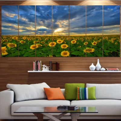 Designart Beauty Sunset Over Sunflowers LandscapeCanvas Art Print - 5 Panels