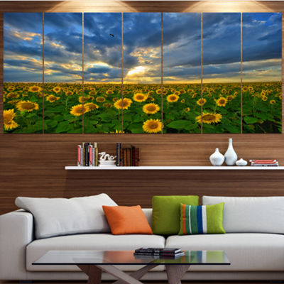 Designart Beauty Sunset Over Sunflowers LandscapeCanvas Art Print - 6 Panels