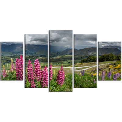 Designart Flowering Landscape Of New Zealand Landscape LargeCanvas Art Print - 5 Panels