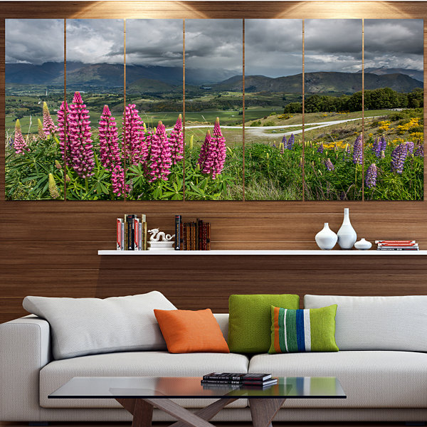 Designart Flowering Landscape Of New Zealand Landscape Canvas Art Print - 7 Panels