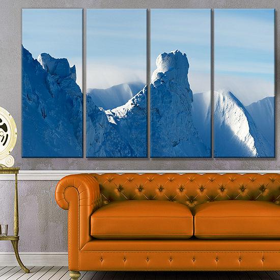 Designart Blue Winter Hills Panorama Landscape Canvas Art Print - 4 Panels