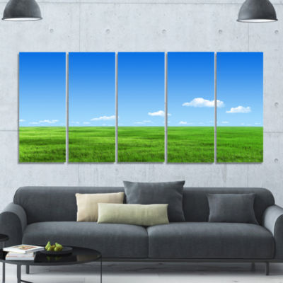 Green Meadow And Blue Sky Landscape Canvas Art Print - 5 Panels