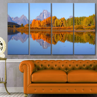 Designart Grand Tetons Panorama Large Landscape Canvas Art Print - 4 Panels