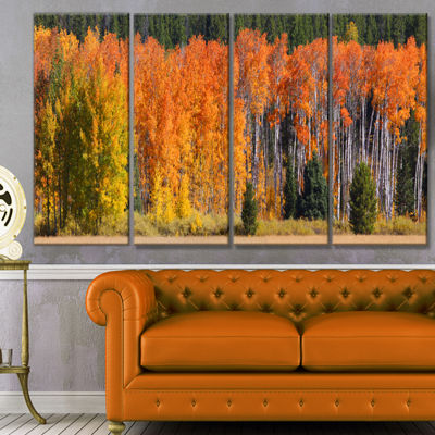 Designart Fall Trees Panorama Landscape Canvas ArtPrint - 4Panels