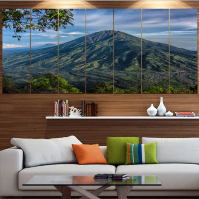 Designart Merbabu Volcano In Java Large LandscapeCanvas Art Print - 4 Panels