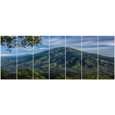Designart Merbabu Volcano In Java Large LandscapeCanvas Art Print - 7 Panels