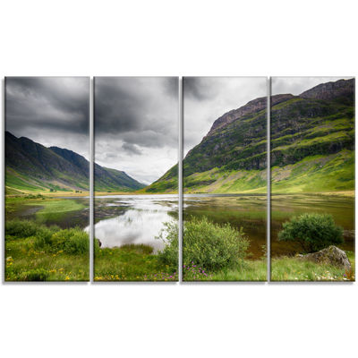 Designart Valley Of Glencoe In Green Landscape Canvas Art Print - 4 Panels
