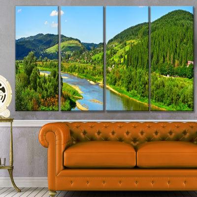 Designart Green Mountains And River Landscape Canvas Art Print - 4 Panels