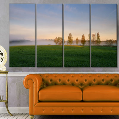 Foggy Early Morning Panorama Landscape Canvas ArtPrint - 4 Panels