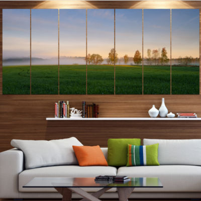 Design Art Foggy Early Morning Panorama LandscapeCanvas Art Print - 5 Panels