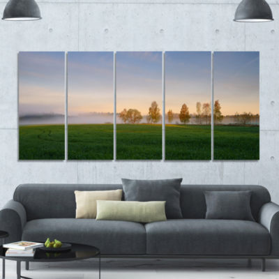 Foggy Early Morning Panorama Landscape Canvas ArtPrint - 5 Panels