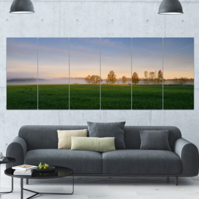 Foggy Early Morning Panorama Landscape Canvas ArtPrint - 6 Panels