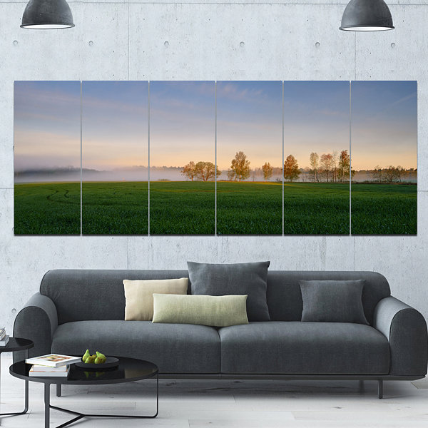 Designart Foggy Early Morning Panorama LandscapeCanvas Art Print - 6 Panels