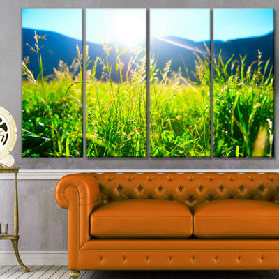 Designart Beautiful Green Nature Wonder LandscapeCanvas Art Print - 4 Panels