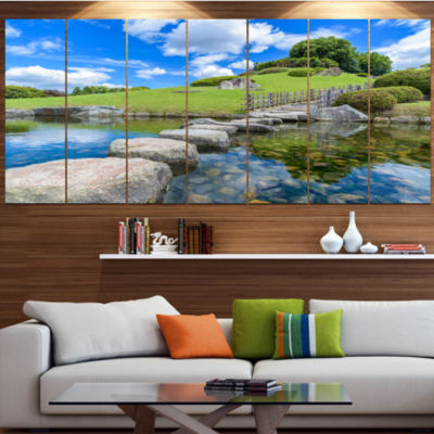 Designart Japanese Garden In Okayama Landscape Canvas Art Print - 4 Panels
