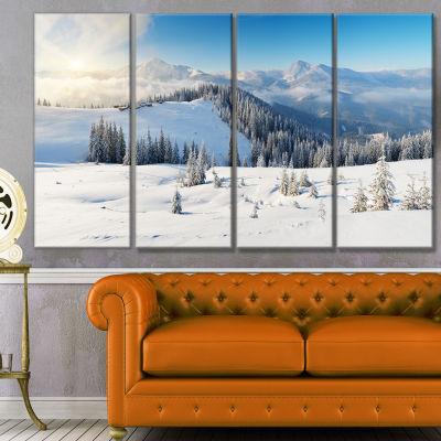 Designart Sunny Morning In Mountains Landscape Canvas Art Print - 4 Panels