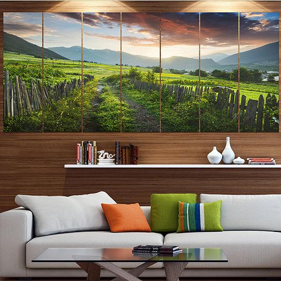 Designart Green Georgian Mountain Valley LandscapeCanvas Art Print - 4 Panels