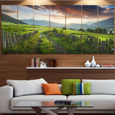Designart Green Georgian Mountain Valley LandscapeLarge Canvas Art Print - 5 Panels