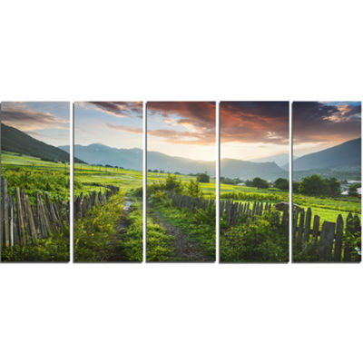 Designart Green Georgian Mountain Valley LandscapeCanvas Art Print - 5 Panels