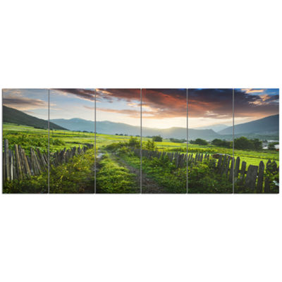 Designart Green Georgian Mountain Valley LandscapeCanvas Art Print - 6 Panels