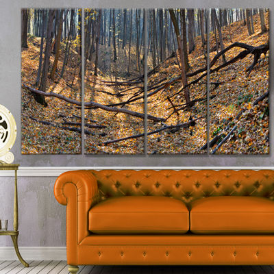 Designart Thick Autumn Forest Panorama LandscapeCanvas Art Print - 4 Panels