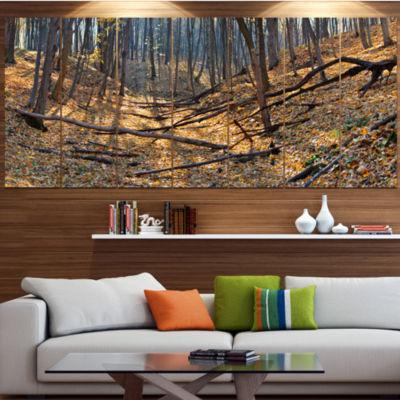 Designart Thick Autumn Forest Panorama LandscapeCanvas Art Print - 5 Panels