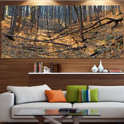 Designart Thick Autumn Forest Panorama LandscapeCanvas Art Print - 7 Panels