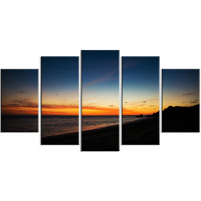 Designart Sunset Over Beach In Cabo St.Lucas Landscape LargeCanvas Art Print - 5 Panels