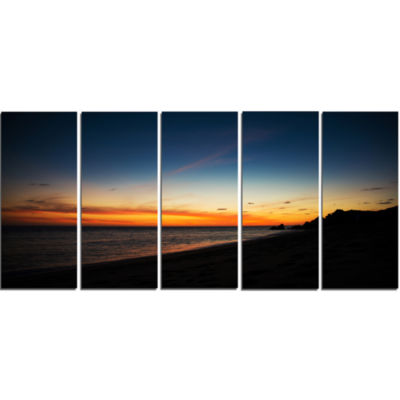 Sunset Over Beach In Cabo St.Lucas Landscape Canvas Art Print - 5 Panels